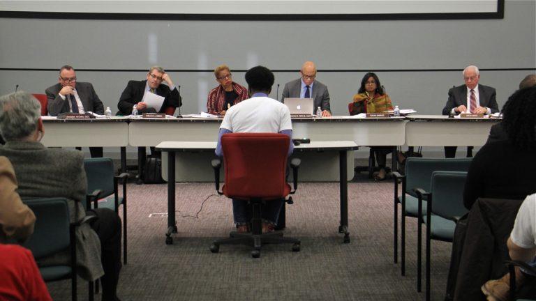 Kileeo Wideman testifies on behalf of Deep Roots Charter School before the Philadelphia School Reform Commission