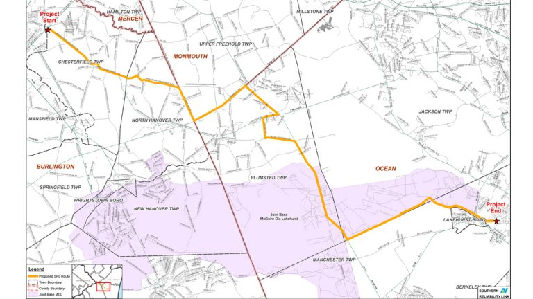 New Jersey Natural Gas has proposed a 30-mile natural gas pipeline to run through Burlington, Monmouth and Ocean counties. It would go through Joint Base McGuire-Dix-Lakehurst. (New Jersey Natural Gas)