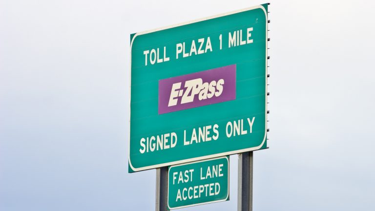"""(<a href=""""http://www.shutterstock.com/pic-2077252/stock-photo-toll-road-sign-telling-of-upcoming-toll-booth-plaza.html?src=y_gR51r7MKgx05CcK-Nv9Q-1-0"""">Photo</a> via ShutterStock)"""