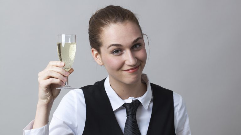 "(<a href=""http://www.shutterstock.com/pic-288159296/stock-photo-beautiful-young-woman-wearing-uniform-of-wine-waitress-happy-to-raise-champagne-glass.html?src=mlWKb4GtrpBaTkTZYB6GNw-1-5"">Photo</a> via ShutterStock)"