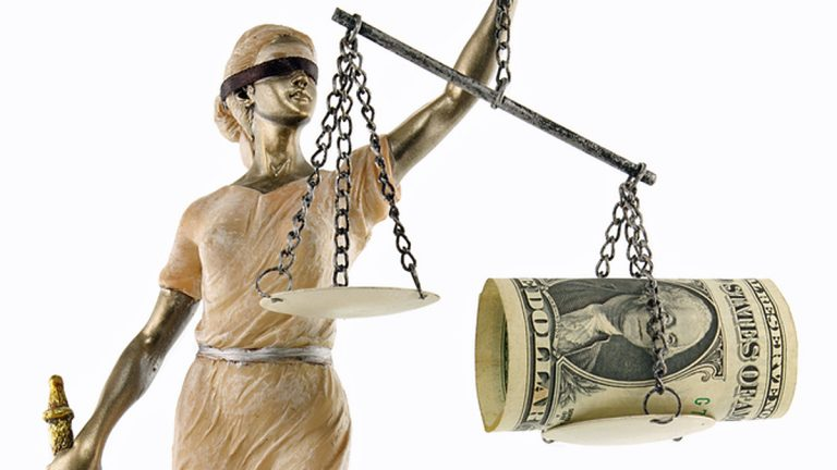 """(<a href=""""http://www.shutterstock.com/pic-90092962/stock-photo-justice-greek-themis-latin-justitia-blindfolded-with-scales-sword-and-money-on-one-scale.html?src=csl_recent_image-1"""