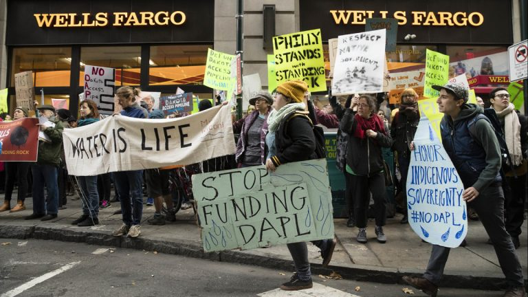 Protesters demonstrate in solidarity with members of the Standing Rock Sioux tribe in North Dakota over the construction of the Dakota Access oil pipeline