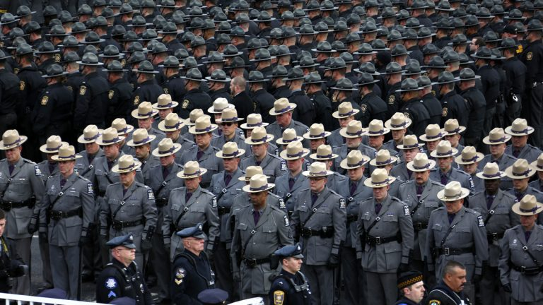 File image of Pennsylvania State Troopers line up outside the Blair County Convention Center in Altoona. (AP image)