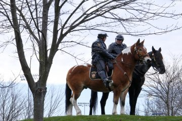 Pennsylvania State Police on horses outside Beaver Stadium before an NCAA college football game between the Penn State and the Michigan State in State College