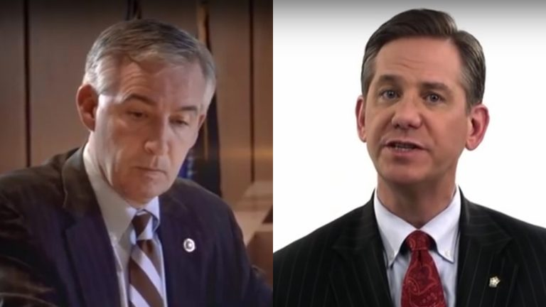 Montgomery County District Attorney candidates Kevin Steele (left) and Bruce Castor have both launched attack ads focused on a 2005 case against comedian Bill Cosby.