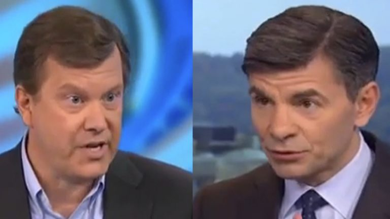 Peter Schweizer (left) appears on ABC's This Week with George Stephanopoulos to discuss 'Clinton Cash'(Electronic image via youtube.com)