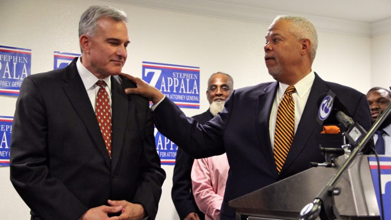 Pennsylvania Sen. Anthony Williams and other Philadelphia political and religious leaders endorse Allegheny County District Attorney Stephen Zappala for Pennsylvania attorney general. (Emma Lee/WHYY)