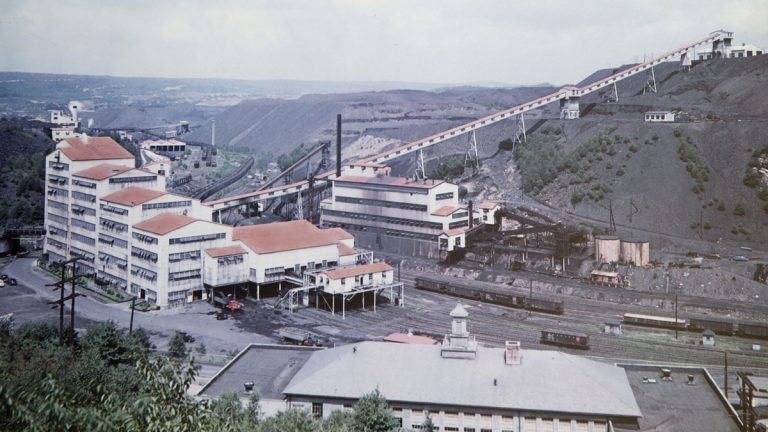 This undated photo provided by Reading Anthracite on April 29, 2015 shows the St. Nicholas Coal Breaker in Mahanoy City, Pa. In the early 20th century, St. Nicholas opened as the crown jewel of a relatively safer, more modern anthracite industry. The breaker and its twin at Locus Summit operated around the clock to meet the nation's dwindling but still substantial need for anthracite. (Reading Anthracite via AP)