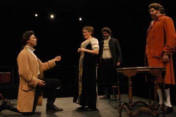 Josh Carpenter (left), Sonja Field, Ralph Edmonds and John Preston in Quintessence Theatre Group's production of