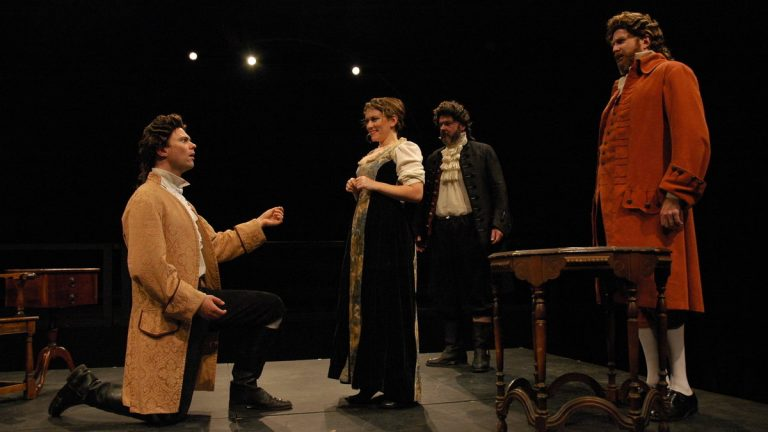 Josh Carpenter (left), Sonja Field, Ralph Edmonds and John Preston in Quintessence Theatre Group's production of
