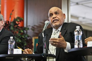 Former State Senator Milton Street participates in the first forum of democratic mayoral candidates. (Kimberly Paynter/WHYY)