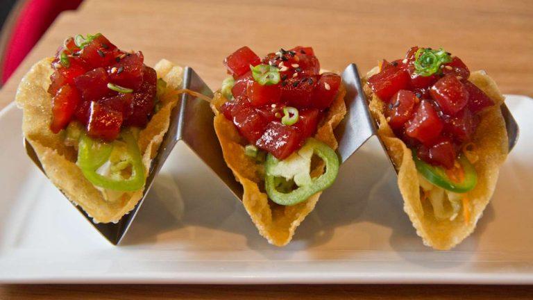 The crispy ahi tuna taco at Suga
