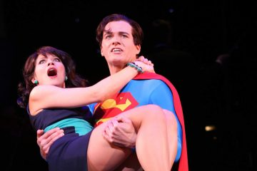 Actors Jenny Powers and Edward Watts are shown as Lois Lane and Superman in a 2013 stage production of