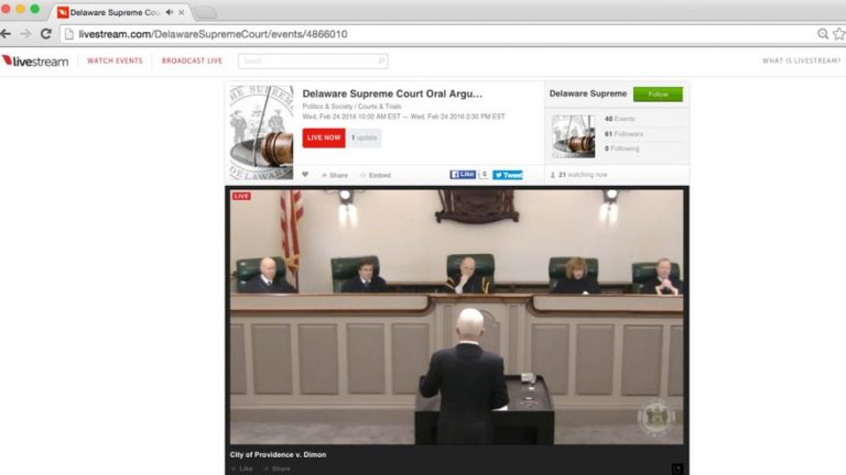 Screenshot shows the live online video broadcast of oral arguments at the Delaware Supreme Court.