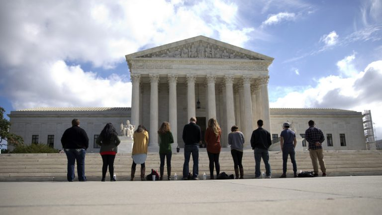 Protesters gather in front of the Supreme Court in Washington, D.C. (AP Photo/Carolyn Kaster)