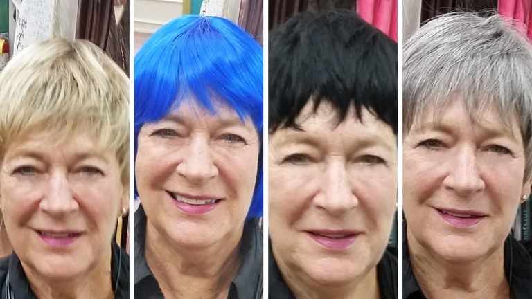 The author is shown with various options at Lois Arnold's wig shop on S. 4th Street in Philadelphia. (Susan Perloff