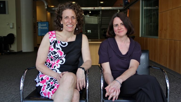 Christine Filippone (left) is assistant professor of art history at Millersville University. Dr. Melinda Keefe (right) is a senior research scientist at Dow. (Emma Lee/WHYY)
