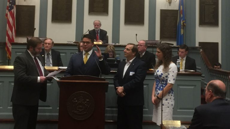 State Sen. Anthony Delcollo was one of three new legislators to be sworn into office Tuesday. (Zoe Read/WHYY)