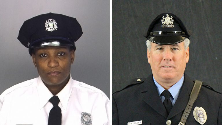 From left: Philadelphia Police Sgt. Sylvia Young and University of Pennsylvania Police officer Edward Miller both survived gunshot wounds sustained on Friday night in West Philadelphia. (Philadelphia Police Department / University of Pennsylvania Police)