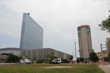 Revel (left) and Showboat casinos in Atlantic City, N.J. (Kimberly Paynter/WHYY)