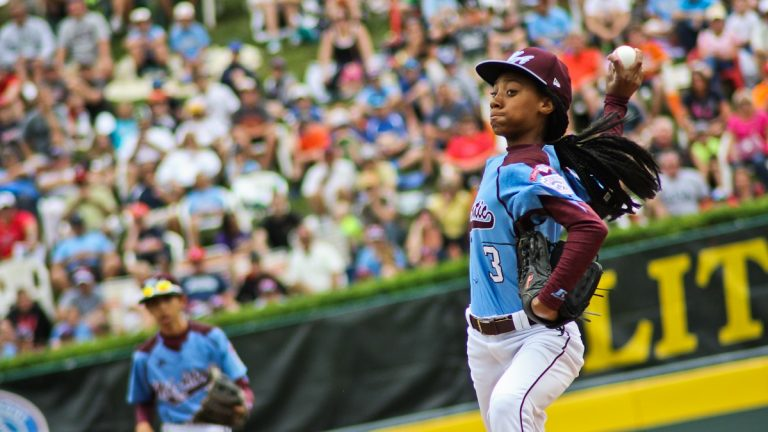 Taney Dragons pitcher Mo'ne Davis, 13, throws a pitch at the Little League World Series. (Kimberly Paynter/WHYY)