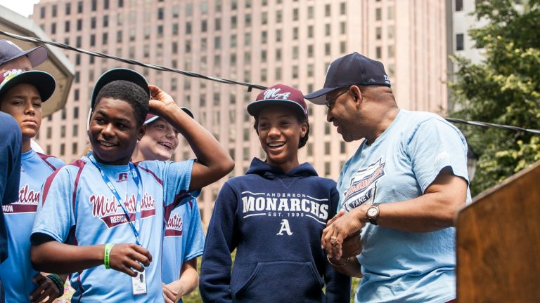 The Taney Dragons Little League team and their star pitcher, Mo'ne Davis, will kick off the Macy's Thanksgiving Day Parade. (Brad Larrison/NewsWorks file photo)