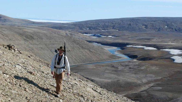 Paleontological fieldwork, Nunavut Territory, Canada. (Courtesy of Ted Daeschler)