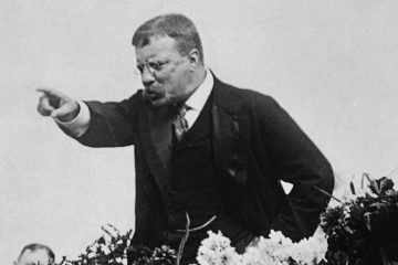 Theodore Roosevelt is shown in 1900 campaigning for presidential hopeful William McKinley. He was McKinley's running mate on the Republican ticket. (AP Photo/file)