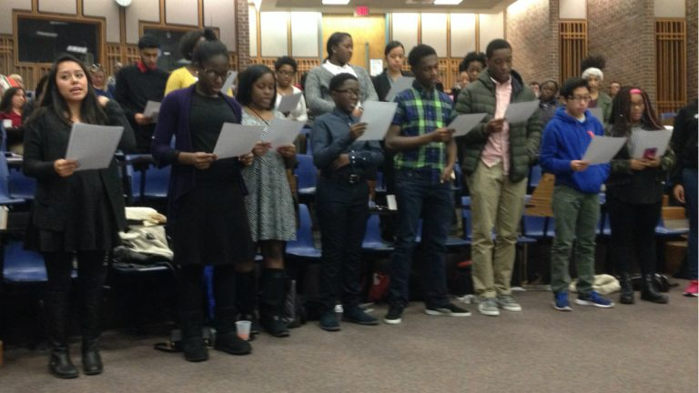 TeenSHARP's Delaware contingent is sworn in at a Saturday ceremony. (Avi Wolfman-Arent, Newsworks/WHYY)