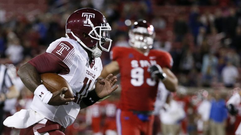 Temple's P.J. Walker, front, sprints to the end zone for a touchdown after a long run during the second half of an NCAA college football game against SMU on Friday, Nov. 6, 2015, in Dallas. Temple won 60-40. (AP Photo/Tony Gutierrez, file)