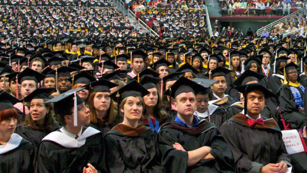 Members of Temple University's 2012 graduating class attend their commencement ceremony in Philadelphia. (Nathaniel Hamilton/for NewsWorks, file)
