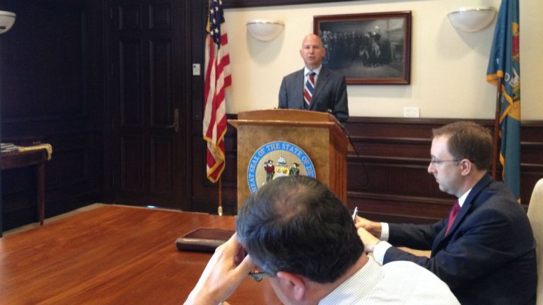 Governor Jack Markell presents the state's test scores at a briefing. (Avi Wolfman-Arent, NewsWorks/WHYY)