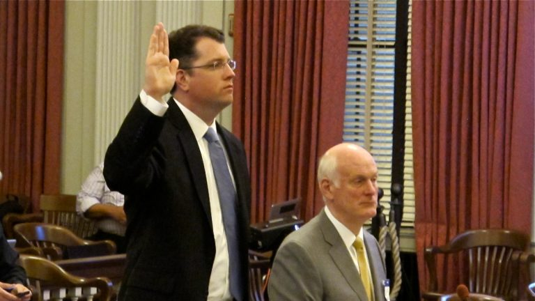 Gov. Chris Christie's chief of staff Kevin O'Dowd is sworn in before testifying before the  New Jersey Select Committee on Investigation. (Phil Gregory/WHYY)