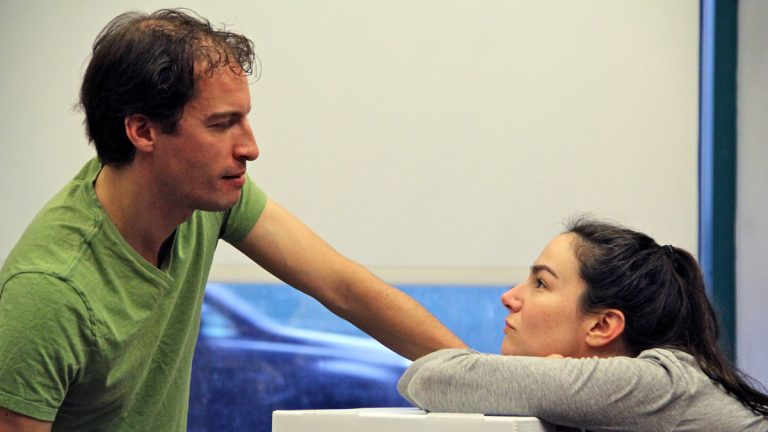 Sarah Gliko and Ross Beschler rehearse their roles as Hillary and Spike in a Wilma Theater production of Tom Stoppard's The Hard Problem