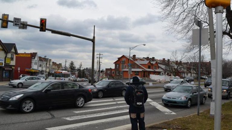 The wide, high-traffic boulevard poses a challenge to pedestrians (PlanPhilly Photo)