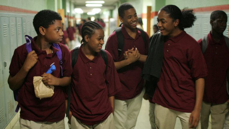 From left, actors Jermaine Crawford, Maestro Harrell, Tristan Wilds and Julito McCullum portray students in the Baltimore school system, the focus of the fourth season of HBO's dramatic series