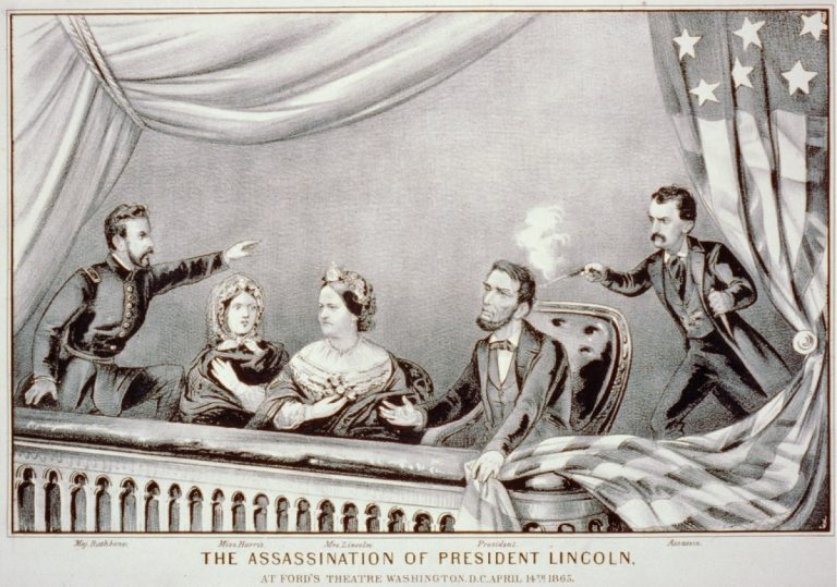Lithograph of the Assassination of Abraham Lincoln. From left to right: Henry Rathbone