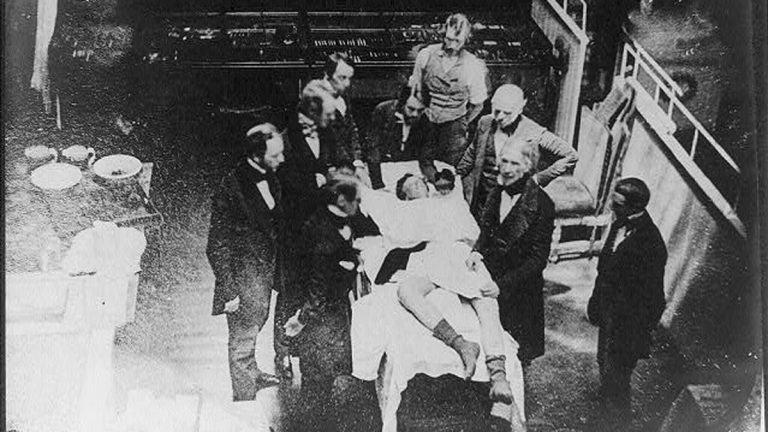 Scene believed to be a re-enactment of the demonstration of ether anesthesia by W.T.G. Morton on October 16