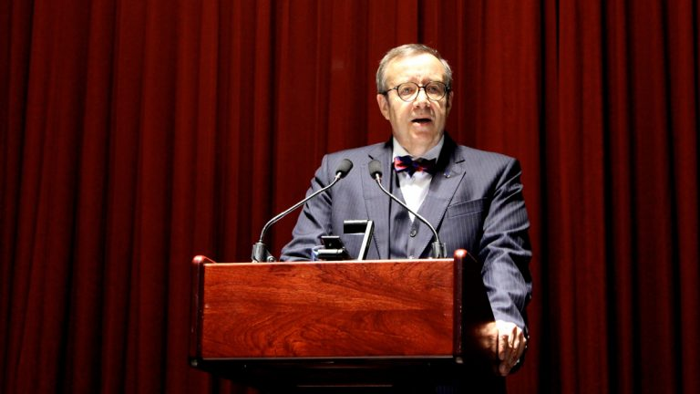 President of Estonia Toomas Hendrik Ilves speaks at a conference held by the Association for the Advancement of Baltic Studies at The University of Pennsylvania Thursday night. (courtesy of UPenn/Laris Kreslins)