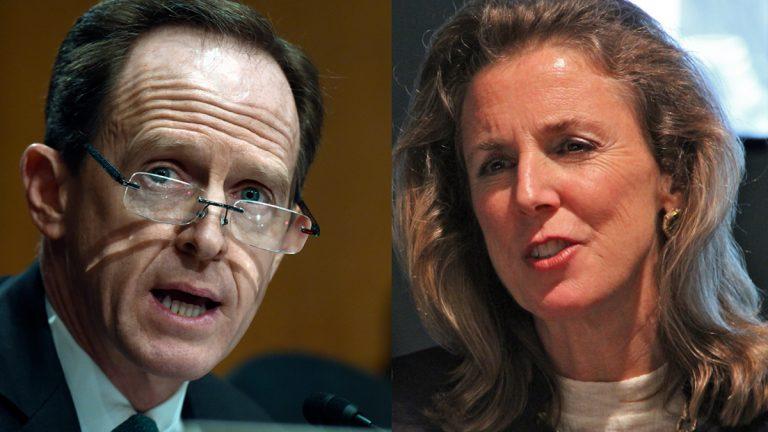 Republican incumbent U.S. Sen. Pat Toomey (left) and Democratic nominee for U.S. Senate Katie McGinty. (Susan Walsh/AP Photo and Emma Lee/WHYY)