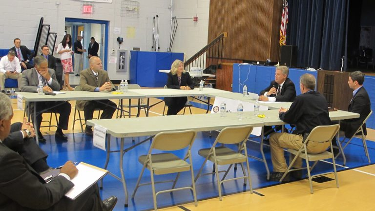 Officials discuss post-Sandy changes at Monmouth Beach forum. (Phil Gregory/WHYY)