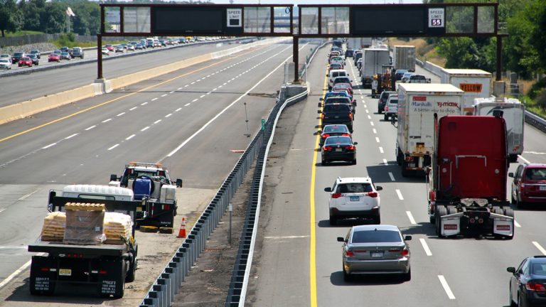 The recently completed turnpike widening program added 35 miles of truck lanes from Exit 6 where it meets the Pennsylvania Turnpike to Exit 9 near New Brunswick. (Emma Lee/WHYY)