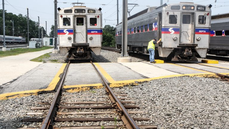 SEPTA demonstrated their new Positive Train Control Wednesday at their training facility in Malvern. (Kimberly Paynter/WHYY)