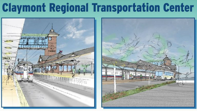 An artists rendering of the new Claymont train station