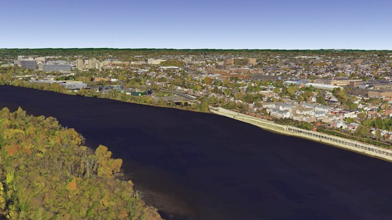 Aerial view from Google Earth from the Pa. side looking at Trenton