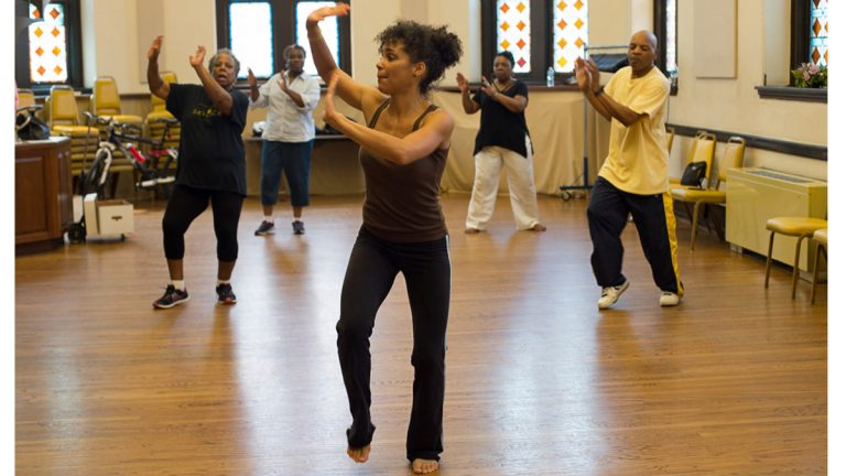 The University of Pennsylvania's Institute on Aging is testing the effect of a three-days-a-week dance class on the brain function of older African-Americans. The clinical trial is a search for therapies that could help prevent dementia. (Image courtesy of Holli Stephens)