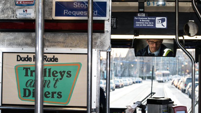 Mike Fuller offers similes, rhymes, and jokes over the public address system of his SEPTA trolley. While Fuller mostly drives the 36, you can also occasionally find him on the 34 and the 13. (Alex Stern/for WHYY)