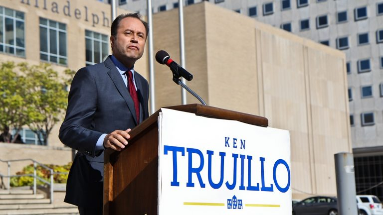 Ken Trujillo announces his candidacy for mayor of Philadelphia. (Kimberly Paynter/WHYY)