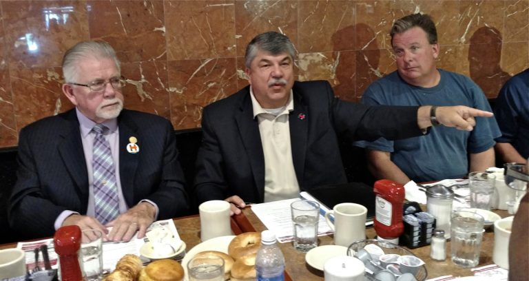 The AFL-CIO's national president Richard Trumka (center)was at the Oregon Diner in South Philadelphia Wednesday morning to stump for Democratic nominee Hillary Clinton at a roundtable with 14 local union workers. (Katie Colaneri/WHYY)