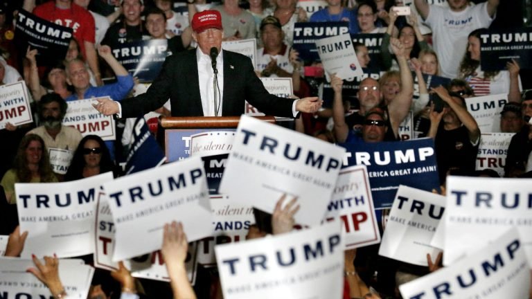 Republican presidential candidate Donald Trump speaks during a rally